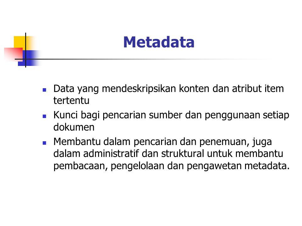 Metadata Data yang mendeskripsikan konten dan atribut item tertentu