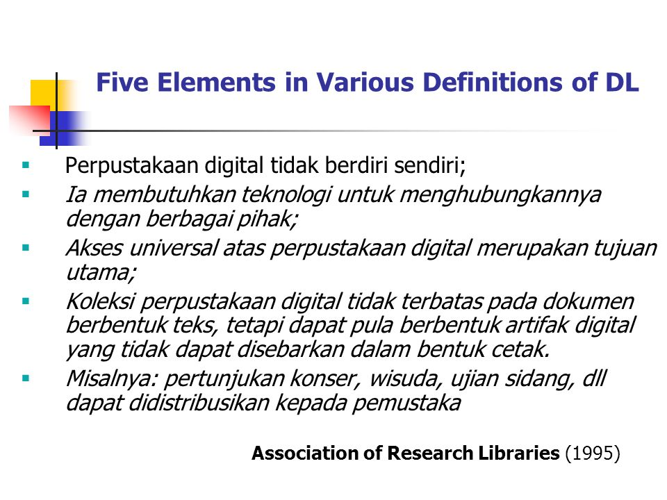 Five Elements in Various Definitions of DL