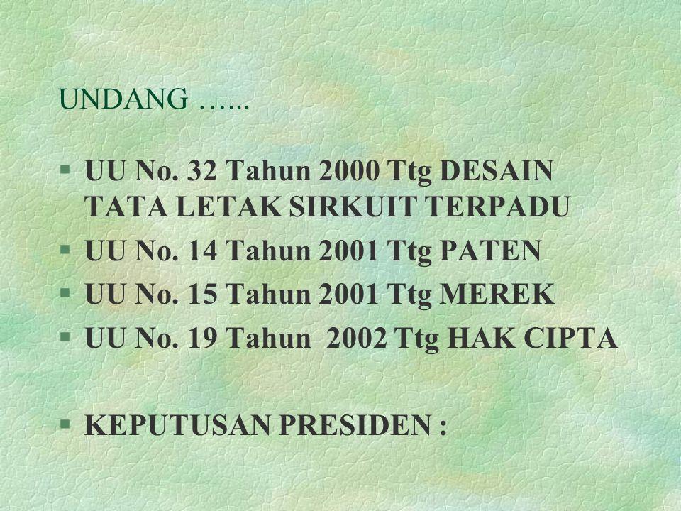 UNDANG …... UU No. 32 Tahun 2000 Ttg DESAIN TATA LETAK SIRKUIT TERPADU. UU No. 14 Tahun 2001 Ttg PATEN.