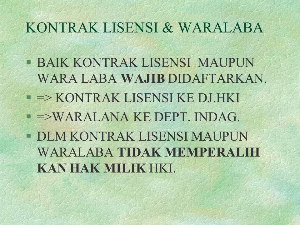 KONTRAK LISENSI & WARALABA