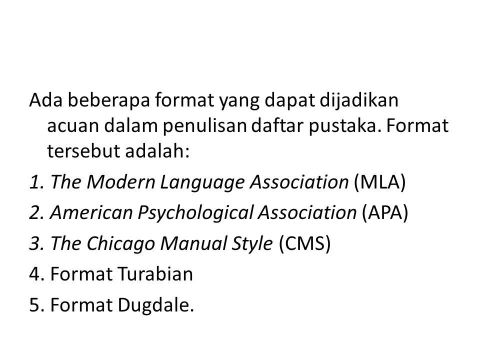 Ada beberapa format yang dapat dijadikan acuan dalam penulisan daftar pustaka. Format tersebut adalah: