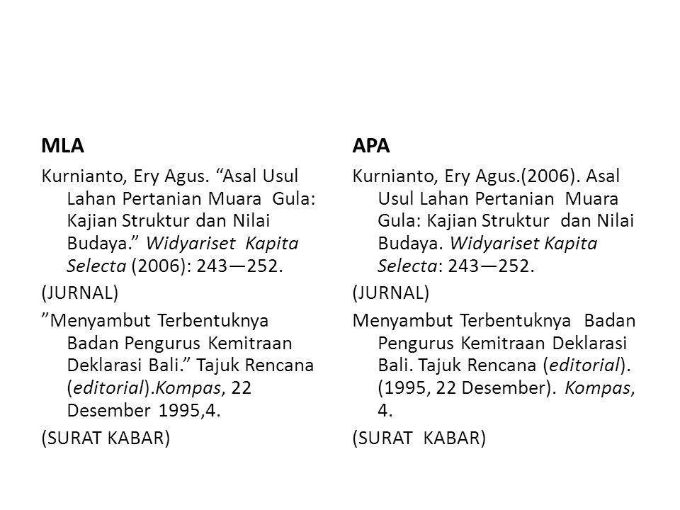 MLA APA. Kurnianto, Ery Agus. Asal Usul Lahan Pertanian Muara Gula: Kajian Struktur dan Nilai Budaya. Widyariset Kapita Selecta (2006): 243—252.
