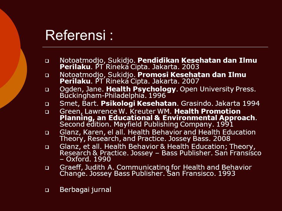 Referensi : Notoatmodjo, Sukidjo. Pendidikan Kesehatan dan Ilmu Perilaku. PT Rineka Cipta. Jakarta. 2003.