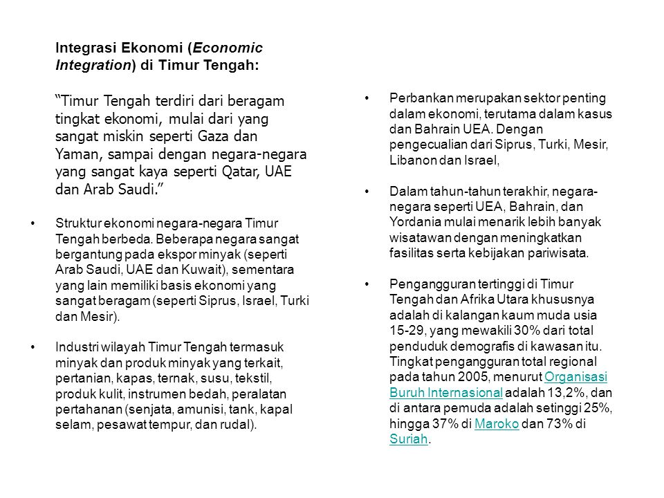 Integrasi Ekonomi (Economic Integration) di Timur Tengah: