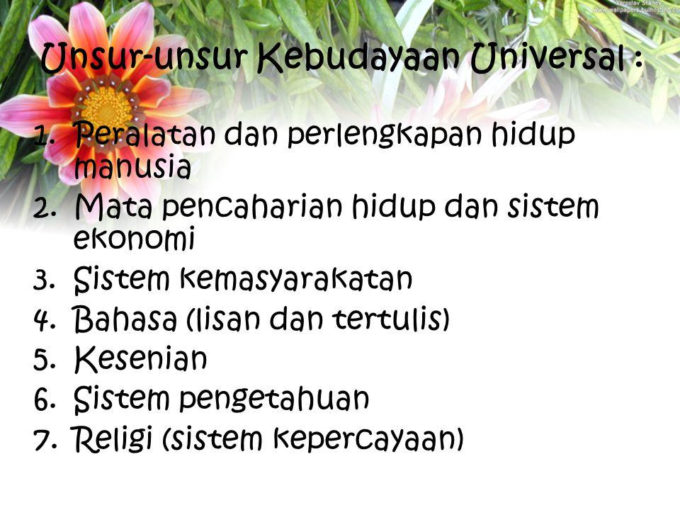 Unsur-unsur Kebudayaan Universal :