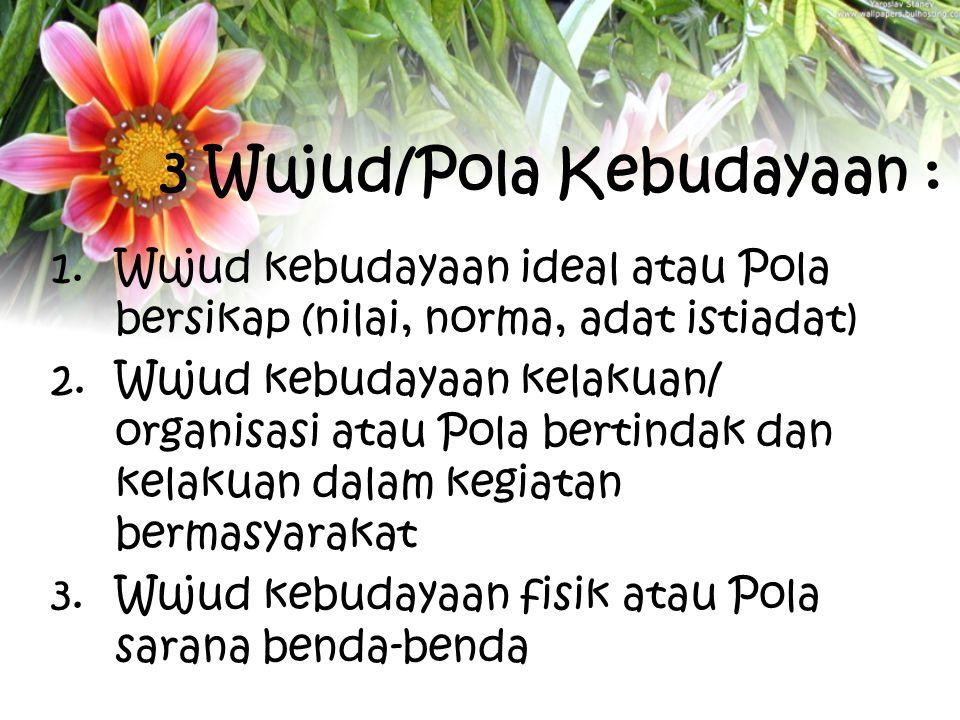 3 Wujud/Pola Kebudayaan :