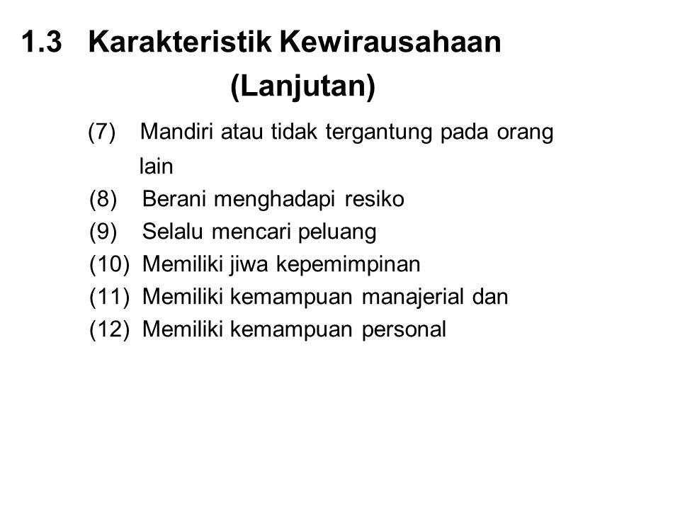 1.3 Karakteristik Kewirausahaan (Lanjutan)