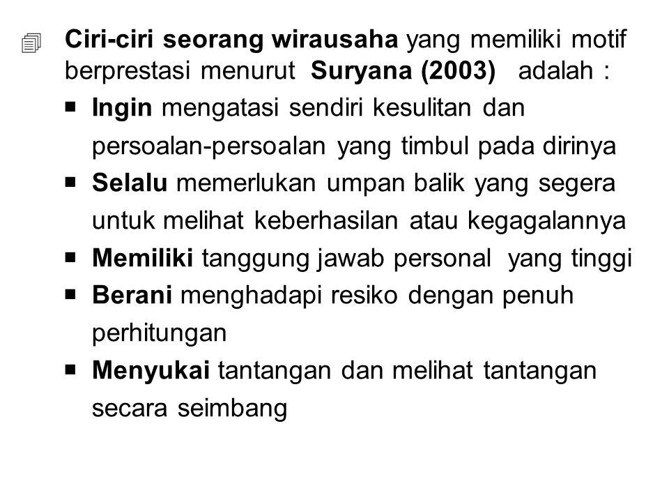  Ciri-ciri seorang wirausaha yang memiliki motif berprestasi menurut Suryana (2003) adalah :