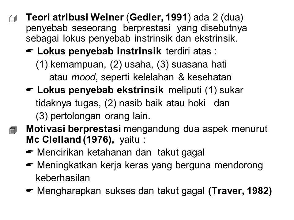 Teori atribusi Weiner (Gedler, 1991) ada 2 (dua) penyebab seseorang berprestasi yang disebutnya sebagai lokus penyebab instrinsik dan ekstrinsik.