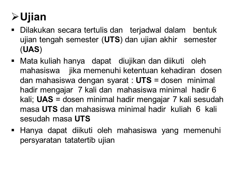 Ujian Dilakukan secara tertulis dan terjadwal dalam bentuk ujian tengah semester (UTS) dan ujian akhir semester (UAS)