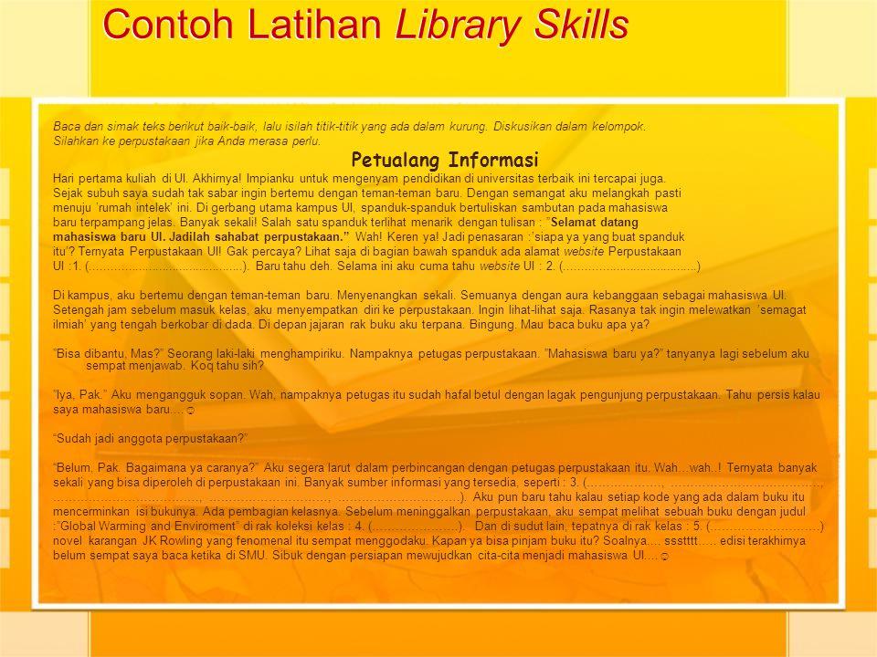 Contoh Latihan Library Skills