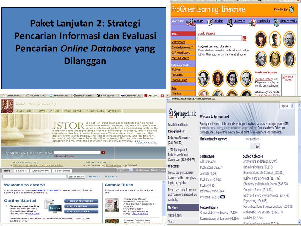 Paket Lanjutan 2: Strategi Pencarian Informasi dan Evaluasi Pencarian Online Database yang Dilanggan