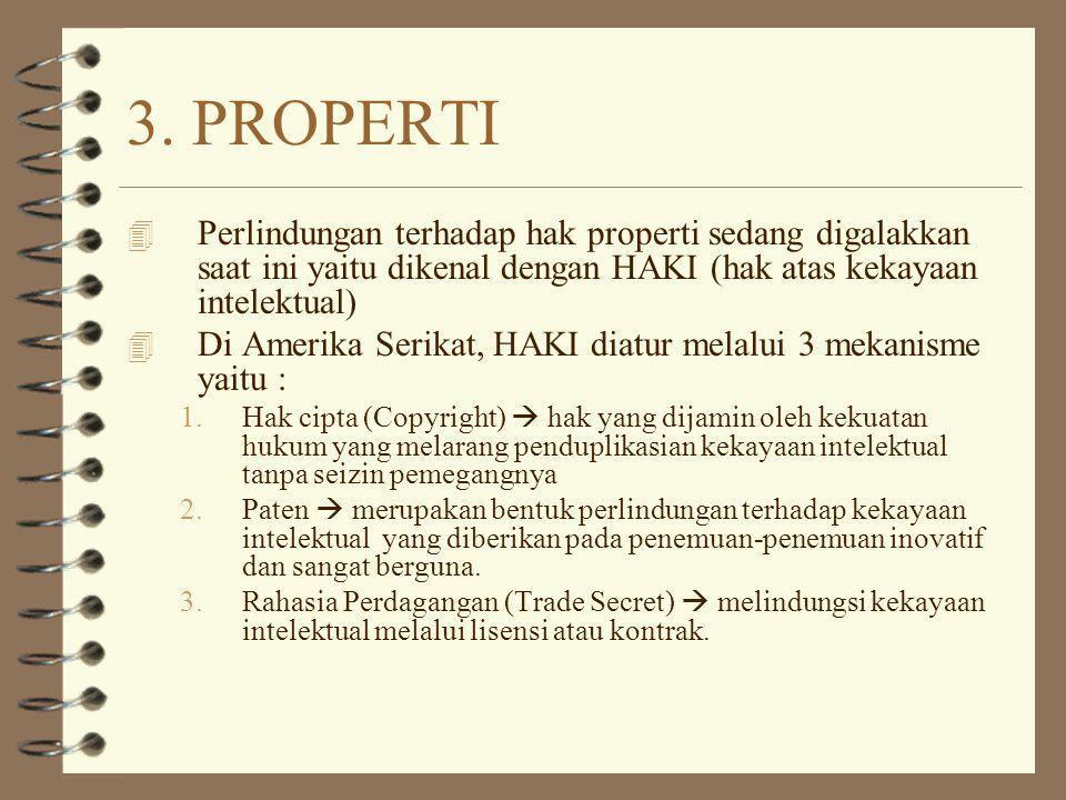 3. PROPERTI Perlindungan terhadap hak properti sedang digalakkan saat ini yaitu dikenal dengan HAKI (hak atas kekayaan intelektual)