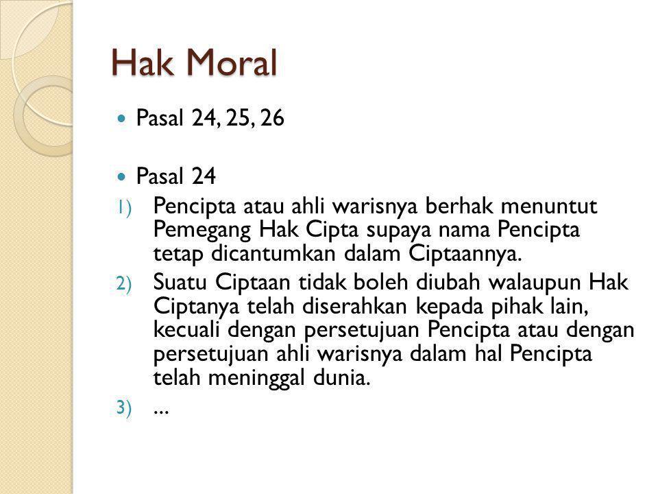 Hak Moral Pasal 24, 25, 26. Pasal 24.