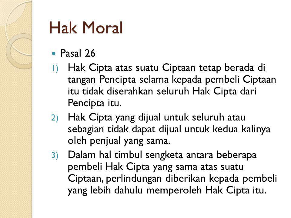 Hak Moral Pasal 26.