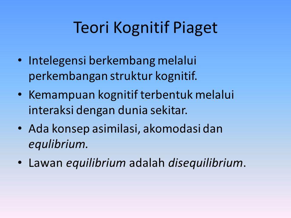 Teori Kognitif Piaget Intelegensi berkembang melalui perkembangan struktur kognitif.