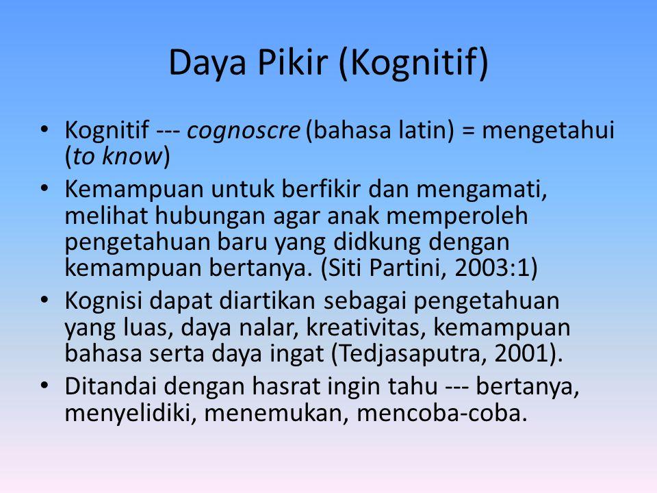 Daya Pikir (Kognitif) Kognitif --- cognoscre (bahasa latin) = mengetahui (to know)