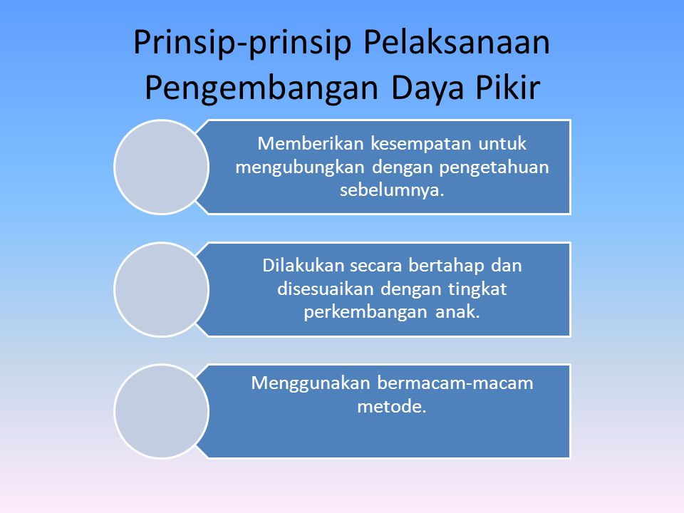 Prinsip-prinsip Pelaksanaan Pengembangan Daya Pikir