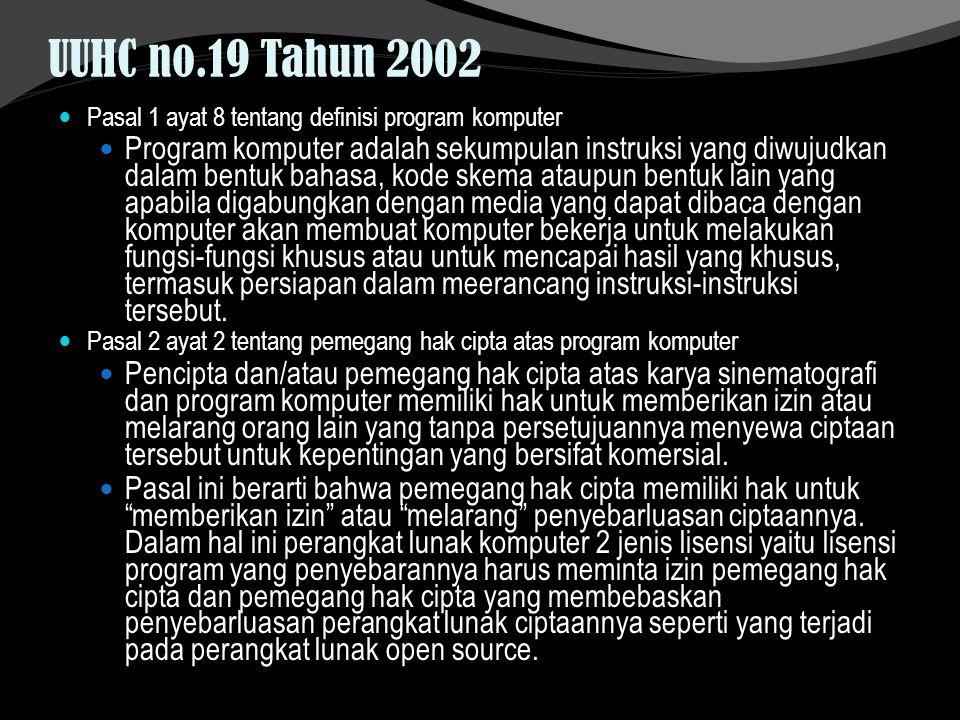 UUHC no.19 Tahun 2002 Pasal 1 ayat 8 tentang definisi program komputer.