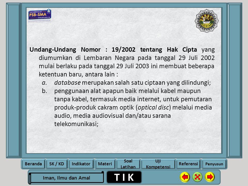 Undang-Undang Nomor : 19/2002 tentang Hak Cipta yang diumumkan di Lembaran Negara pada tanggal 29 Juli 2002 mulai berlaku pada tanggal 29 Juli 2003 ini membuat beberapa ketentuan baru, antara lain :