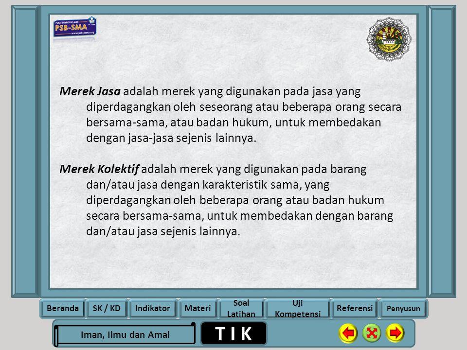Merek Jasa adalah merek yang digunakan pada jasa yang diperdagangkan oleh seseorang atau beberapa orang secara bersama-sama, atau badan hukum, untuk membedakan dengan jasa-jasa sejenis lainnya.