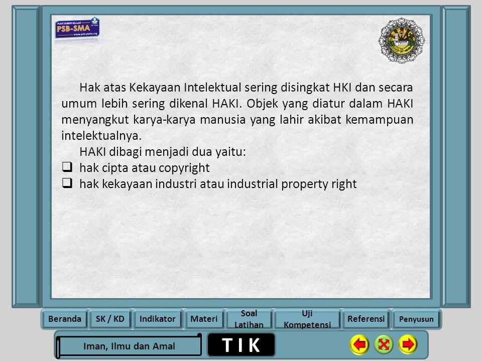 Hak atas Kekayaan Intelektual sering disingkat HKI dan secara umum lebih sering dikenal HAKI. Objek yang diatur dalam HAKI menyangkut karya-karya manusia yang lahir akibat kemampuan intelektualnya.