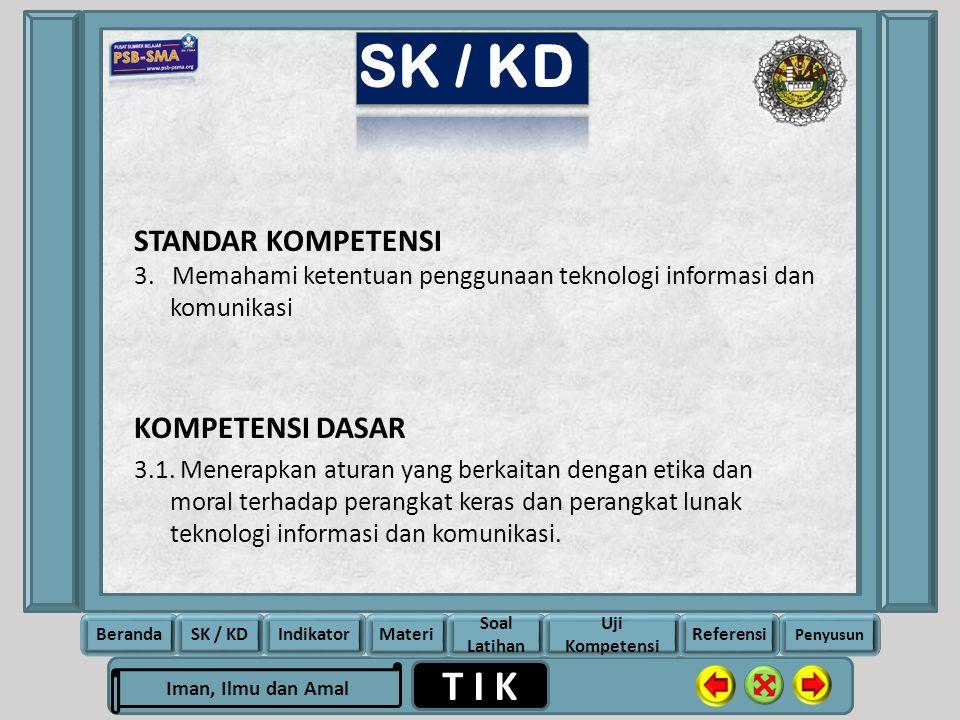 SK / KD STANDAR KOMPETENSI KOMPETENSI DASAR