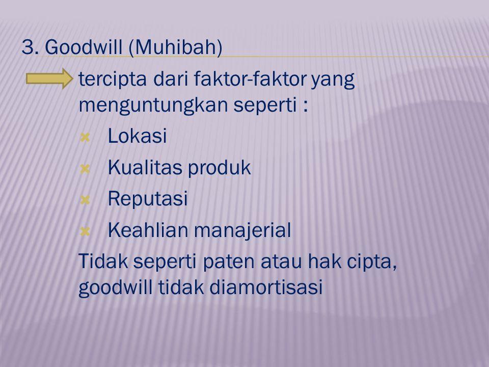3. Goodwill (Muhibah) tercipta dari faktor-faktor yang menguntungkan seperti : Lokasi. Kualitas produk.