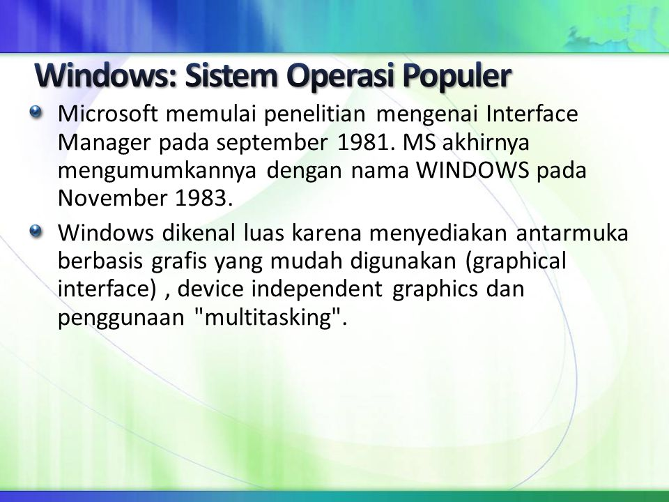 Windows: Sistem Operasi Populer