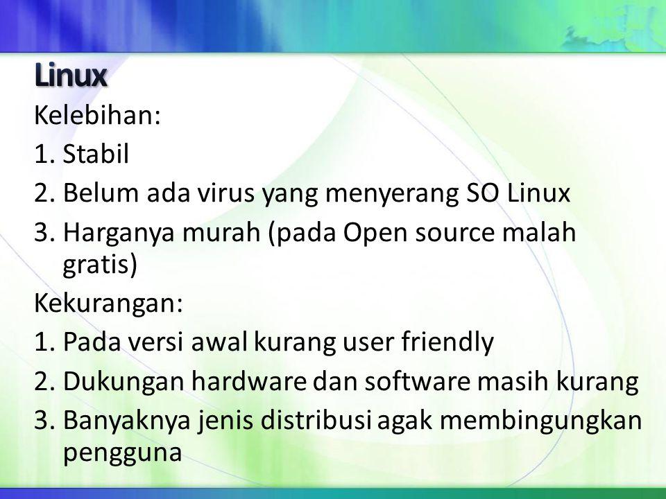 Linux Kelebihan: 1. Stabil 2. Belum ada virus yang menyerang SO Linux