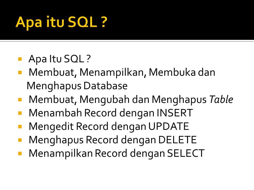 Apa itu SQL Apa Itu SQL Membuat, Menampilkan, Membuka dan Menghapus Database. Membuat, Mengubah dan Menghapus Table.