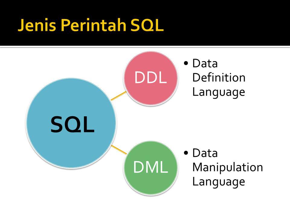SQL Jenis Perintah SQL DDL DML Data Definition Language