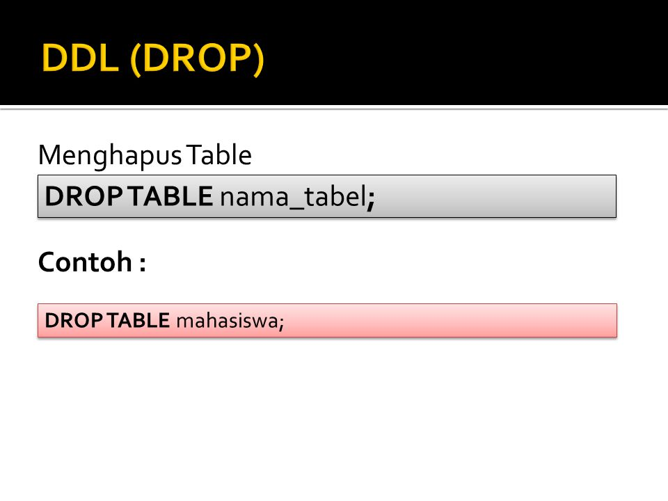 DDL (DROP) Menghapus Table DROP TABLE nama_tabel; Contoh :