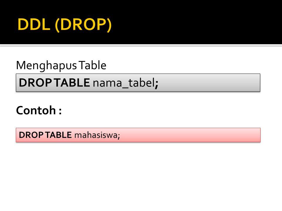DDL (DROP) Menghapus Table DROP TABLE nama_tabel; Contoh :