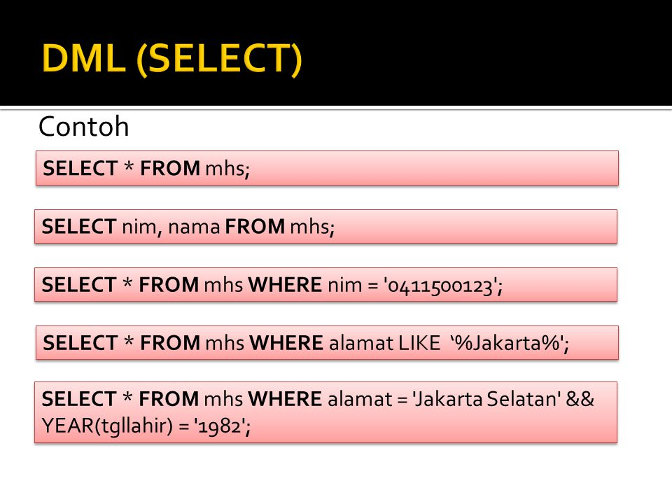 DML (SELECT) Contoh SELECT * FROM mhs; SELECT nim, nama FROM mhs;