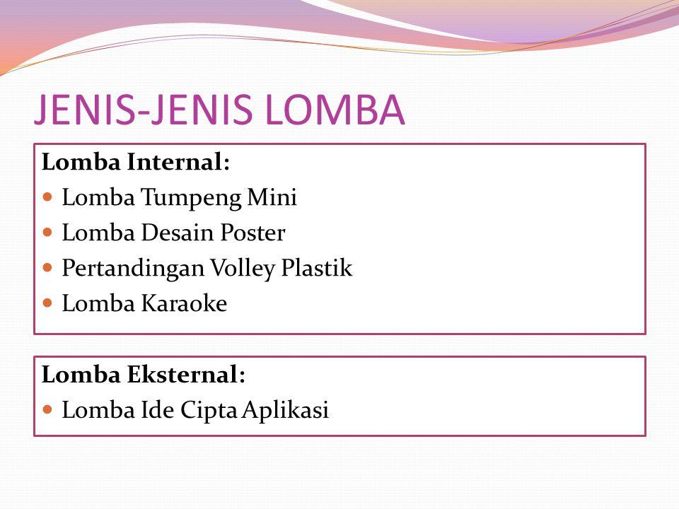 JENIS-JENIS LOMBA Lomba Internal: Lomba Tumpeng Mini