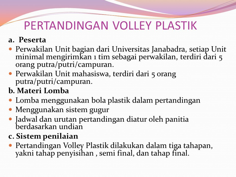 PERTANDINGAN VOLLEY PLASTIK