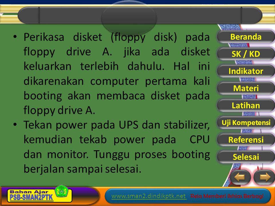 Perikasa disket (floppy disk) pada floppy drive A