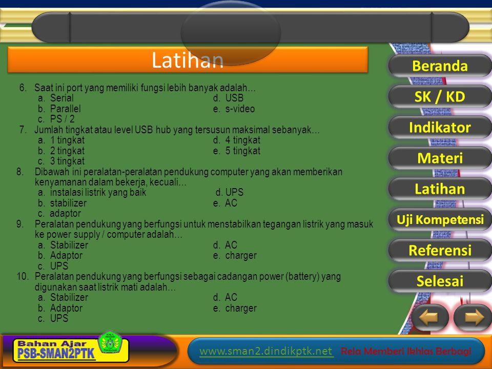 Latihan Beranda SK / KD Indikator Materi Latihan Referensi Selesai