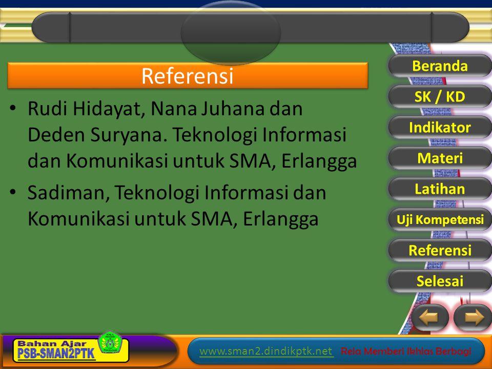 Beranda Referensi. SK / KD. Rudi Hidayat, Nana Juhana dan Deden Suryana. Teknologi Informasi dan Komunikasi untuk SMA, Erlangga.