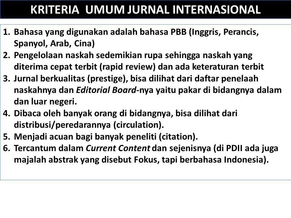 KRITERIA UMUM JURNAL INTERNASIONAL