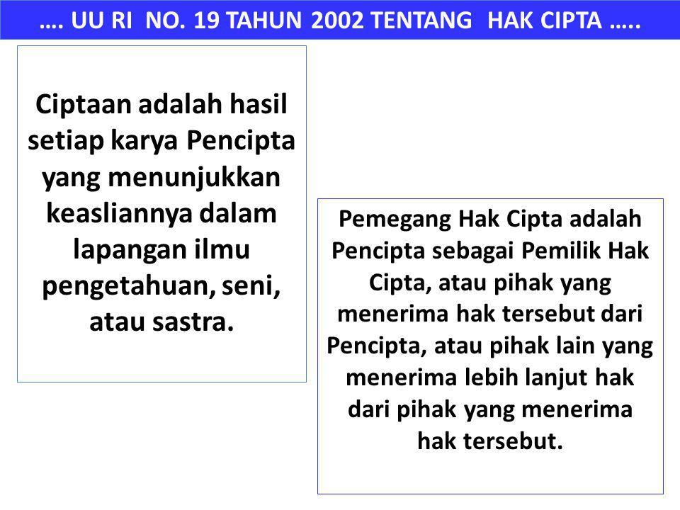 …. UU RI NO. 19 TAHUN 2002 TENTANG HAK CIPTA …..