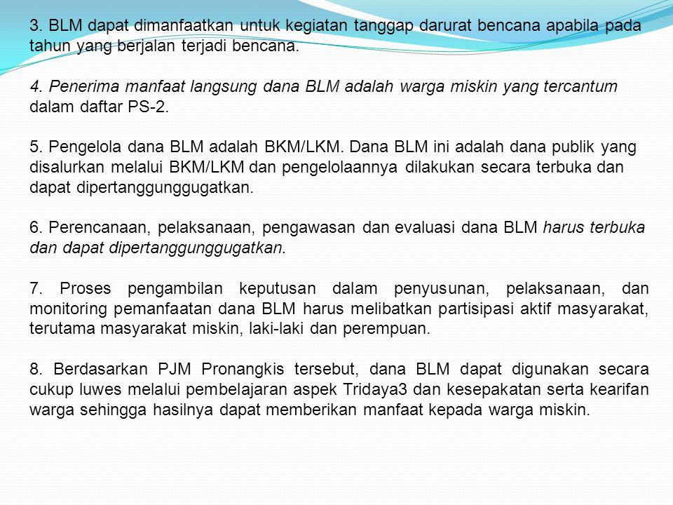 3. BLM dapat dimanfaatkan untuk kegiatan tanggap darurat bencana apabila pada