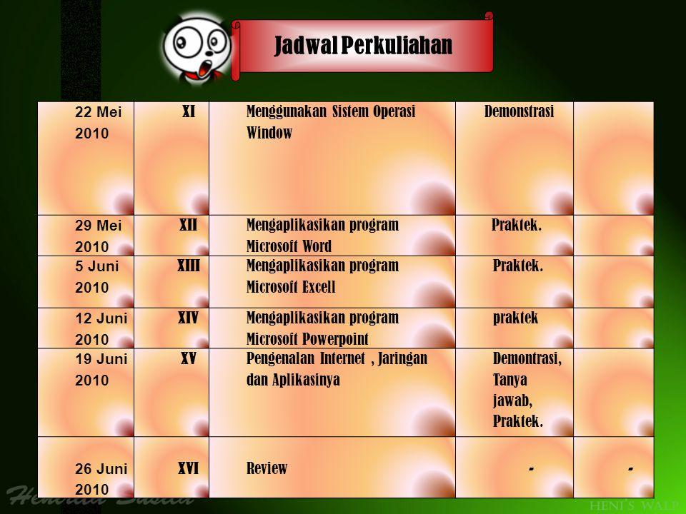 Jadwal Perkuliahan 22 Mei 2010 XI Menggunakan Sistem Operasi Window
