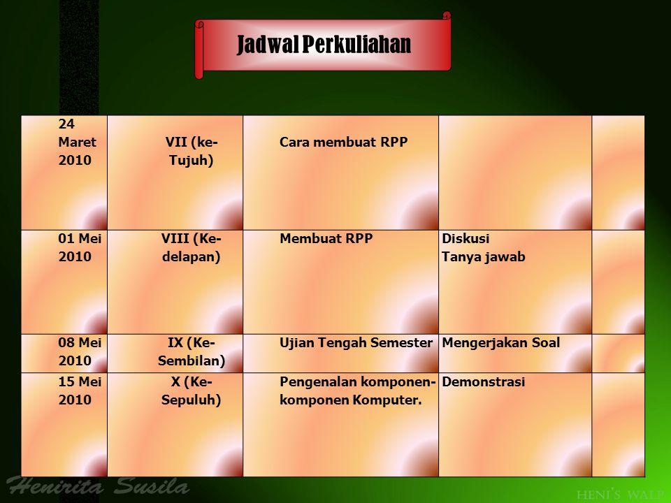 Jadwal Perkuliahan 24 Maret 2010 VII (ke-Tujuh) Cara membuat RPP