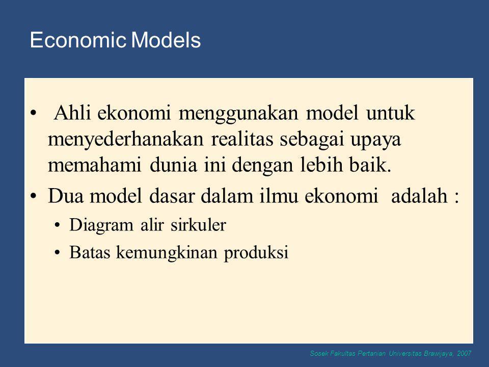 Dua model dasar dalam ilmu ekonomi adalah :