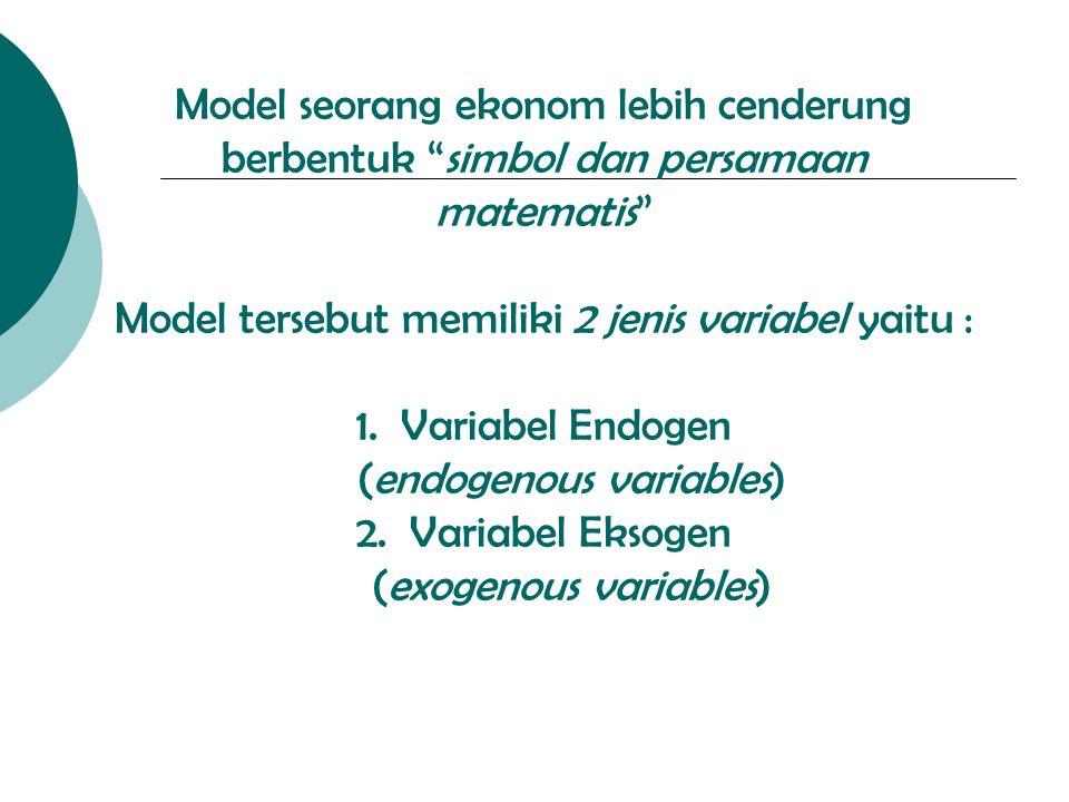 Model seorang ekonom lebih cenderung berbentuk simbol dan persamaan matematis Model tersebut memiliki 2 jenis variabel yaitu : 1.