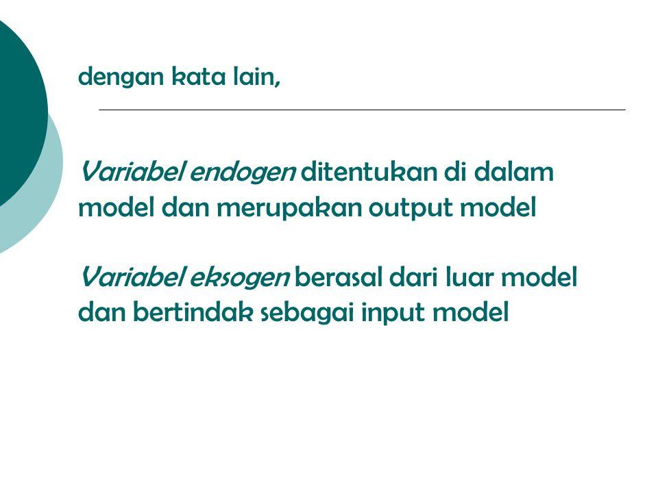 dengan kata lain, Variabel endogen ditentukan di dalam model dan merupakan output model Variabel eksogen berasal dari luar model dan bertindak sebagai input model