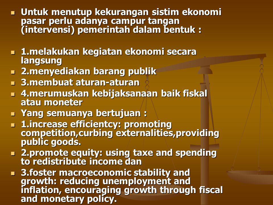 Untuk menutup kekurangan sistim ekonomi pasar perlu adanya campur tangan (intervensi) pemerintah dalam bentuk :