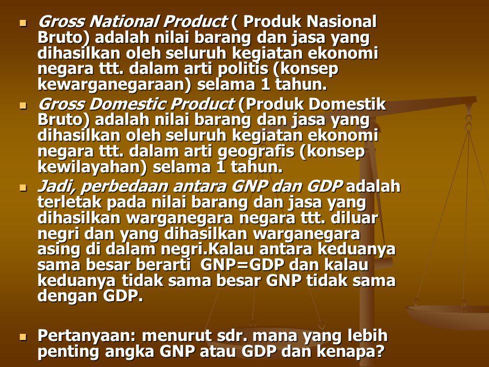 Gross National Product ( Produk Nasional Bruto) adalah nilai barang dan jasa yang dihasilkan oleh seluruh kegiatan ekonomi negara ttt. dalam arti politis (konsep kewarganegaraan) selama 1 tahun.